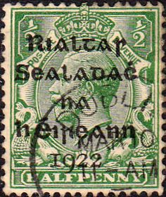 Postage Stamps of Eire Ireland 1922 SG 2 George V Overprint Fine Used Scott 2 Other Irish Stamps HERE