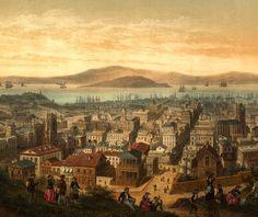 A birdseye view of San Francisco, 1860.
