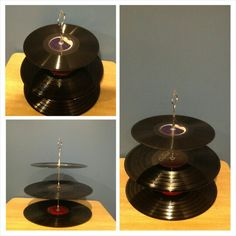 Album cup cake stand can be used for any event to display treats.  Created for a 70s themed soul train party. Www.xclusivelyurs.com