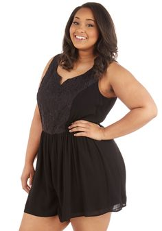 Get Your Chic On Romper in Plus Size. That last-minute girls night out is no sweat as you slip into this sassy black romper and head out the door! #black #modcloth
