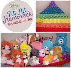 How adorable is this Crochet Rainbow colored toy hammock. Toy hammocks are a great way to keep toys up and off the floor. This easy to make hammock has been created by Stitch11.com. You can grab th…