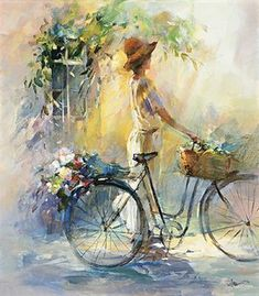 Kai Fine Art is an art website, shows painting and illustration works all over the world. Bicycle Painting, Bicycle Art, Bicycle Design, Art Watercolor, Pintura Country, Beautiful Paintings, Art Pictures, Art Paintings, Painting & Drawing