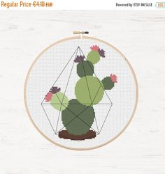 This is an Instant Download PDF Cross Stitch Pattern NO physical item will be shipped to you. Cacti / Succulent in (optional)* geometric terrarium** * Make sure to add the terrarium after you have finished the entire pattern. You can either do one long stitch from node to node or backstitch along the line. **The terrarium looks great in black but you could also use DMC Diamant™ Metallic Thread. --------------------------------------- Stitches: 56 W x 95 H I recommend using 14 count Ai...