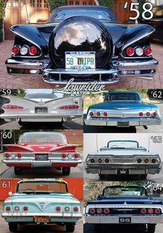 Impala Rear Ends – auto Retro Cars, Vintage Cars, Antique Cars, Chevrolet Impala, Motos Retro, Volkswagen, Automobile, Bmw Autos, Garages