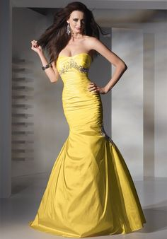 Mermaid Sweetheart Pleated Bodice Beaded Taffeta Prom Dress-sop0010, $226.95