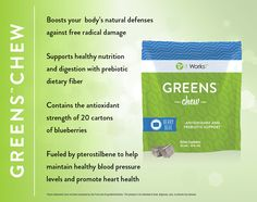 Snack your way to better health with a deliciously sweet blend of fruits and veggies in a super soft chew.  With a nutritional boost of prebiotic fiber, support for healthy blood pressure levels, and the antioxidant strength of 20 cartons of blueberries in every serving, Greens Chew packs a powerful punch to support your overall health and wellbeing.  Loyal customer price for a month's supply is just $30.