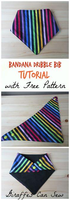 Bandana dribble bib, pattern and tutorial.