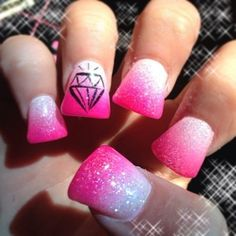 No diamond or flair tip, but the overall color scheme, love it! Flare Acrylic Nails, Flare Nails, Colorful Nail Designs, Toe Nail Designs, Acrylic Nail Designs, Bright Nails, Gradient Nails, Uptown Nails, Duck Feet Nails