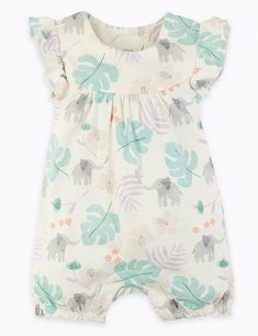 2 Pack Cotton Elephant Rompers (0-12 Months) | M&S