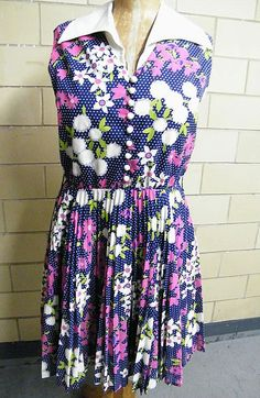 1960's Flat Floral Print Sleeveless Dress On Navy Ground / White Dots...Knife Pleated Skirt