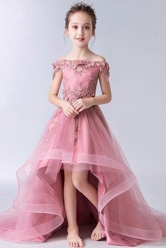 Buy Gorgeous Pink Off the Shoulder With Lace Appliques High Low Tulle Flower Girl Dresses in uk. Find the perfect flower girl dresses at rosepromdress. Our flower girl dresses come in a variety of styles & colors including lace, tulle, purple & gold Gowns For Girls, Little Girl Dresses, Girls Dresses, Dresses For Flower Girl, Dresses Dresses, Prom Dresses For Kids, Kids Bridesmaid Dress, Baby Girl Party Dresses, Birthday Girl Dress