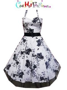 White Black Floral Halter Dress 40s 50s Pinup Retro Vintage Style Vtg 0211   eBay $39.99