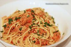 cooking. eating. carousing.: spaghettini with tuna sauce