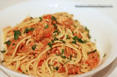 cooking. eating. carousing.: spaghettini with tuna sauce