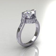 Italian Bridal 950 Platinum 1.5 Carat CZ Diamond by artmasters, $2249.00