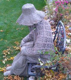 Side view of Lady, using mostly draped hypertufa method.  I crocheted the shawl.