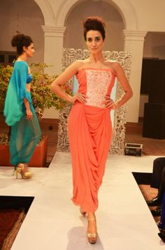 Dusk orange georgette pleated-cowl gown (INR 13,900)