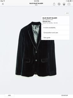 Blue velvet blazer - Zara