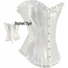 Long white satin corset with ruffled trim, simple yet elegant design. www.discreettiger.com.au