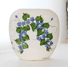 1999 Off-White Wide Ceramic Vase HP Blue Violets and Leaves - Signed by Artist