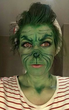 step by step process of how i achieved this grinch makeup 1 cover whole face in green paint. Black Bedroom Furniture Sets. Home Design Ideas