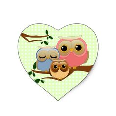 Cute little family of owls heart stickers.