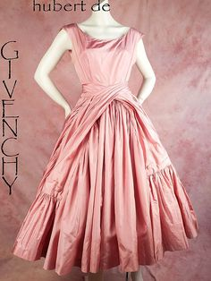 Reserved HB- Important Hubert de Givenchy Couture Pink Silk Dress *No… Vintage Prom, Vintage Gowns, Look Vintage, Vintage Outfits, Vintage Clothing, Jacques Fath, Pink Satin Dress, Satin Dresses, 1950s Dresses