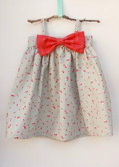 Grey with small Red Mushroom Big Bow Dress by dreamcatcherbaby, $40.00