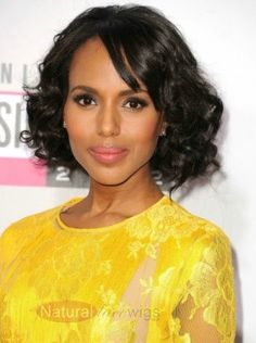 Kerry Washington hairstyle Perfect African American Short Curly Black Lace Front Wig about 12 inches
