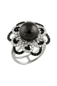 Fancy 10-11mm Black Pearl  Elaborate CZ Ring