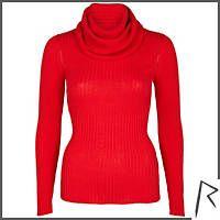 Red Rihanna rib roll neck jumper