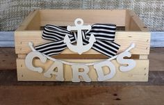 Nautical Wedding Card Box, Beach Program Box, Wedding Advice Box, Anchor Wedding via Etsy