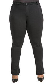 ba6adbdd534 Poetic Justice Curvy Women s Plus Size Black Ponte Faux Slit Classic Casual Pant  Size 14 Plus x 32Length