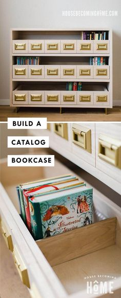 Build a catalog bookcase to keep children's books neatly organized. Check out the tutorial and printable pdf plans! Woodworking Ideas Table, Woodworking Tutorials, Woodworking Projects For Kids, Woodworking Workbench, Woodworking Supplies, Woodworking Furniture, Woodworking Beginner, Woodworking Techniques, Woodworking Classes