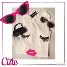Cute trendy Tee NEW JUST IN NWT Eyelash and lip tee shirt super cute and trendy great quality and much brighter lips!!! Cotton/polyester. Retail Tops Tees - Short Sleeve
