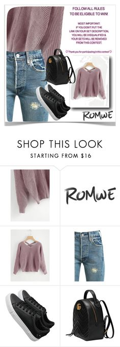 """""""ROMWE"""" by diamond-mara ❤ liked on Polyvore featuring Levi's and Gucci"""