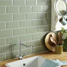 Sage Green Kitchen, Green Kitchen Walls, Kitchen Colors, Bathroom Green, Green Sage, Olive Green, Bathroom Ideas, Metro Tiles Kitchen, Kitchen Wall Tiles