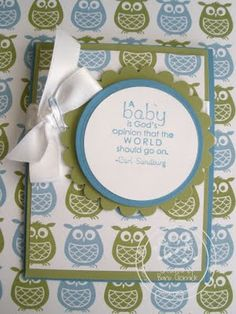 Cards, Stampin' Up!, Baby Card, need to order some of this paper for Kristi's shower!
