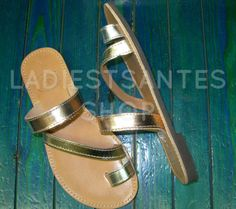 Genuine Greek Leather SandalsSilver Leather by LADIESTSANTES
