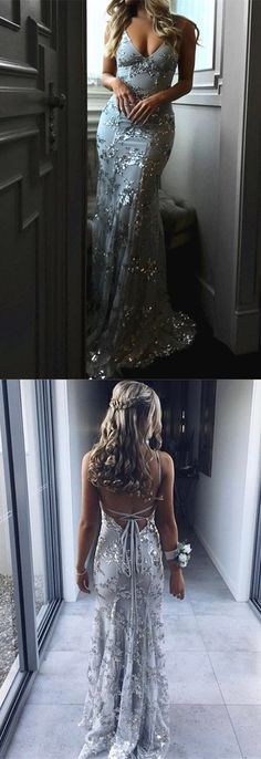 Luxurious Silver Gray Sequins V-neck Tulle Mermaid Backless Prom Dresses