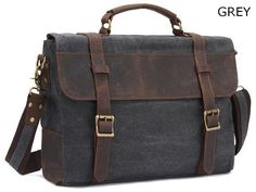 Leather Trimmed Vintage Canvas Messenger Bag
