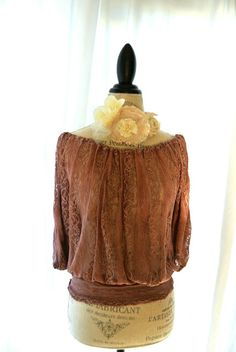 Gypsy cowgirl lace shirt Shabby chocolate by TrueRebelClothing, $60.00