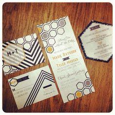 #modern #hexagon #wedding #invites