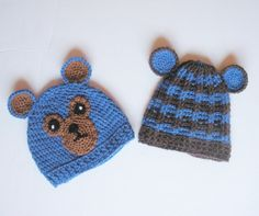 Newborn Crochet Baby Bear Hat Set of  Two in Browns and by #luvbuzz, $30.00  #buyhandmade
