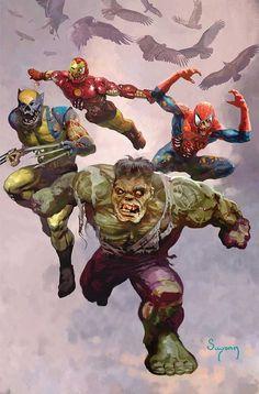 Marvel Zombies- Arthur Suydam Zombie Art, Batman Vs Superman, Spiderman, Anime Comics, Marvel Comics Art, Marvel Vs, Marvel Heroes, Horror Comics, Marvel Comic Character