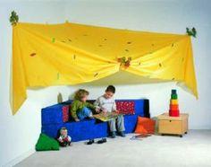 #Cortina #infantil #esquinera de fantasía para zonas de #juego. De #organza para un lávado fácil- Tienda Educamueble