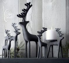 30 Modern Christmas Decor Ideas For Your Home // Zinc reindeer add a modern look to your mantle and a festive feel to your home. Zinc Reindeer from Crate&Barrel Modern Christmas Decor, Classy Christmas, Minimalist Christmas, Noel Christmas, Rustic Christmas, Christmas Tables, Coastal Christmas, Christmas Crafts, Black Christmas Trees