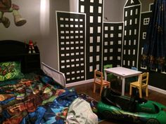 A great way to decorate a boys room. Create a city where you can later add Ninja Turtles, Spiderman, Batman or Power Ranger decals to make their imagination run wild.