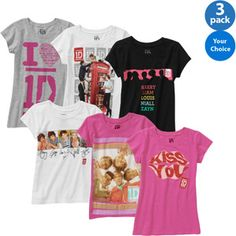 One Direction Girls' Graphic Tee, 3 Pack Your Choice NEED