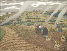 Henri Rivière. Le Travail aux Champs (Work in the Fields). Plate 2 for <u>Au Vent de Noroit</u>. Color lithograph, 1906. Published by Eugène Verneau, Paris. Signed in the stone. 14-3/4 x 19-5/8 inches. 28545